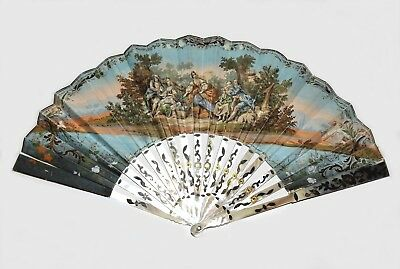 ANTIQUE 1800s FRENCH Hand Painted Mother of Pearl VINTAGE 19th c Ornate HAND FAN