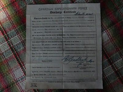 Canadian Expeditionary Force Discharge Certificate 77Th Battery Ww1 Great War