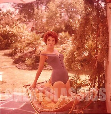 LINDA CRISTAL 1960s SEXY SWIMSUIT 2 1/4 COLOR CAMERA TRANSPARENCY PETER BASCH