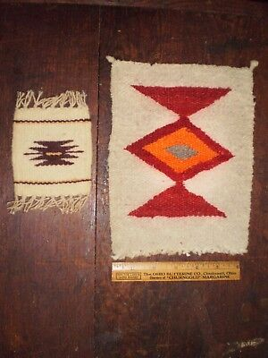 Two Vintage Navajo Miniature Rug Weavings