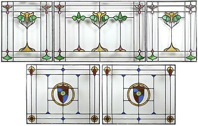 Antique Victorian / Arts & Crafts Stained Glass Windows Set of 5 restored