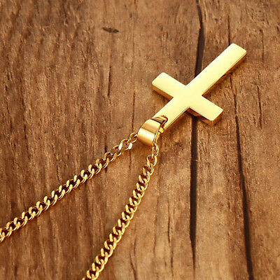 Titanium Steel Cross Pendant Men Women Unisex Religious Necklace Jewelry L