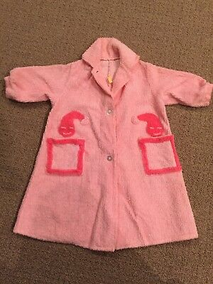 Vintage 1950 Pink Chenille Fabric Childs Little Girls Robe Bathrobe Size 3?