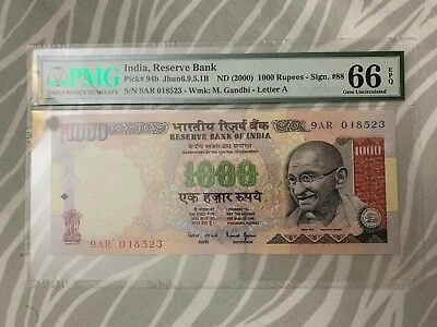 2000 India Reserve Bank of India 1000 Rupees PMG 66EPQ