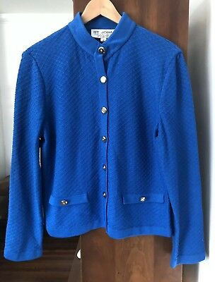 ST. JOHN Collection Marie Gray Textured Knit Jacket Top Size 8 $1095 Blue