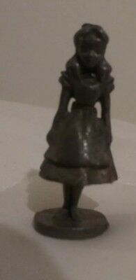 Miniature Alice in Wonderland Pewter Figure Figurine Vintage 1980's