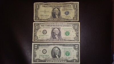 1935 E $1 One Silver Certificate 1981 $1 1976 $2 TWO dollar bill U.S. currency