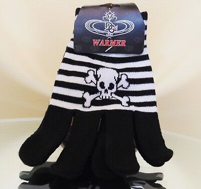 New Black And White Striped With Skull/Crossbones Gloves