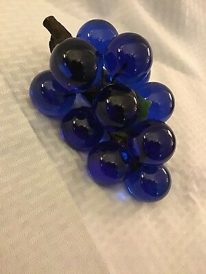 Vintage Retro 1960s Acrylic Lucite Grape Cluster Blue & Green swag shabby