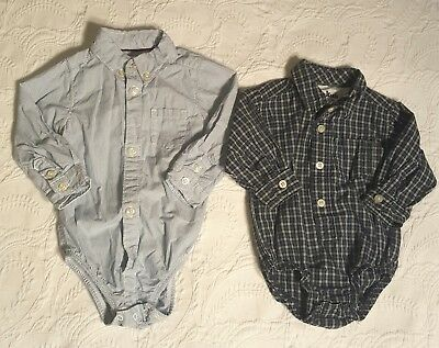 Baby Boy 9 Month Long Sleeve Button Down Bodysuit Lot