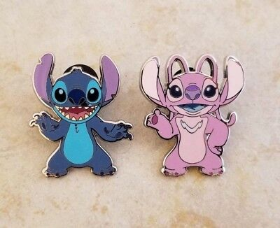 Pin Trading Disney Pins Lot of 2 Alien Angel and Stitch Set Couple Pink Blue