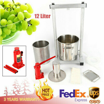 12L FRUIT WINE Press Cider Apple Grape Crusher Juice Grinder