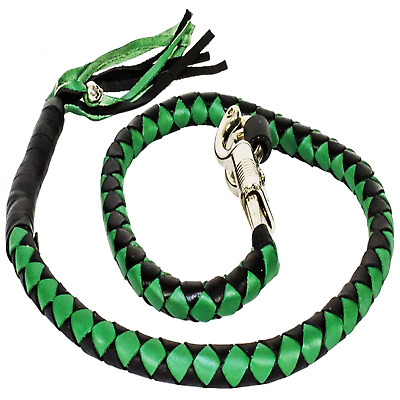 Motorcycle Get Back Whip Leather 42 Inch Long Green Black Harley Universal