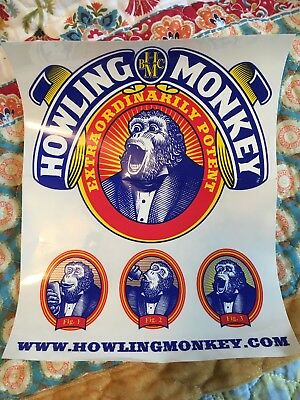 "HOWLING MONKEY ENERGY DRINK Decal Sticker 8x10"" Monster Rockstar LOT of 3 Decals"