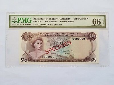"$1/2 <1968> Dollar Bahamas Monetary Authority ""SPECIMEN"" PMG 66"