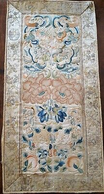 Antique Chinese Forbidden Stitch Silk Sleeve Band Tapestry Panel Qing Embroidery