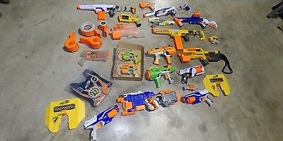 Lots Of Nerf Guns Elite Pistol Dart Tag Care War Party Maverick Mods Yellow Blue