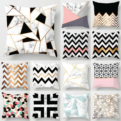 44x 44cm Geometric Cushion Covers Pink Marble Grey Sofa Pillow Case Cover UK