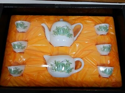 Vintage Chinese Tea Pot Cup Set - Art Collection Asian Oriental - Signed