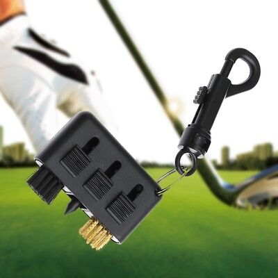 Golf Brush 3-In-1 Club Ball Groove Cleaner Brass Wire Plastic Clean Tool W/Clip