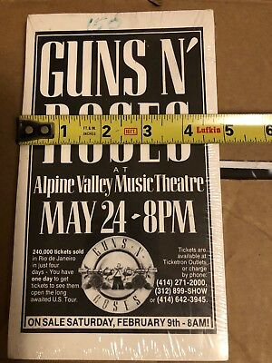 Guns N' Roses Use Your Illusion Opener Sealed Flyer Pack Alpine Valley Wisconsin