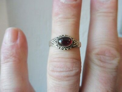 Beautiful, Old Ring __925 Silver __ with Red Stone __