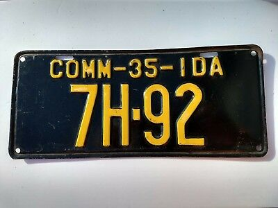 1935 Idaho commercial truck  license plate  # 92 from Idaho county