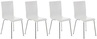 Set 4 chairs visitor PEPPER, wooden seat, frame chrome-plated metal, chair in