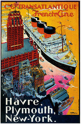 Vintage 1930s French Cruise Liner Havre Plymouth Travel Poster Art Reprint A4