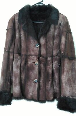 Vintage Italian Brown Soft Rabbit Lapin Fur Hide Hunting Style Jacket Sz L 12 14