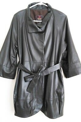 Vintage Park Hong Dark Grey Soft Leather Tulip Style Statement Jacket Sz S 10