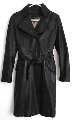 Vintage Black Soft Leather Long Double Breasted Trench Winter Jacket Sz 10 12
