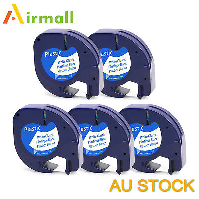 Compatible for Dymo Letratag tape 91331 12mm x 4m Plastic 5 Pack Black on white