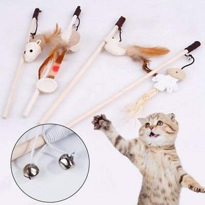 Funny Pet Cat Kitten Play Playing Toy With Bell Pet Toys Feather Teaser Rod Wand