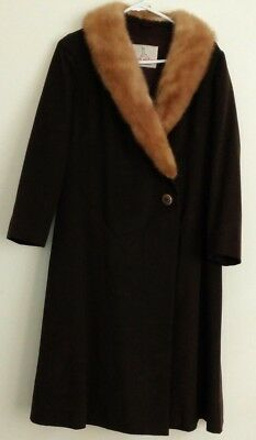 Vintage Van Ziang Hong Kong Brown Wool Long Dress Coat Sz S 8 10 Fur Collar