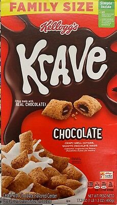 New Kelloggs Family Size Krave Chocolate Cereal 17.3 Oz Box Crispy Shell Outside