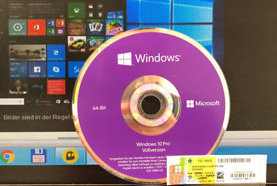 Microsoft Windows 10 Pro 64 Bit ,DVD,Deutsch Vollversion Key Aktivierung OEM