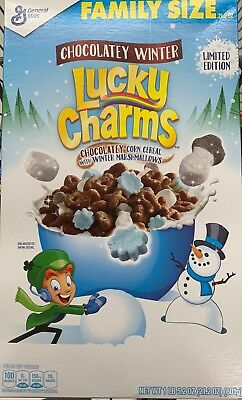 New General Mills Family Size Chocolatey Winter Lucky Charms Cereal 21.2 Oz Box