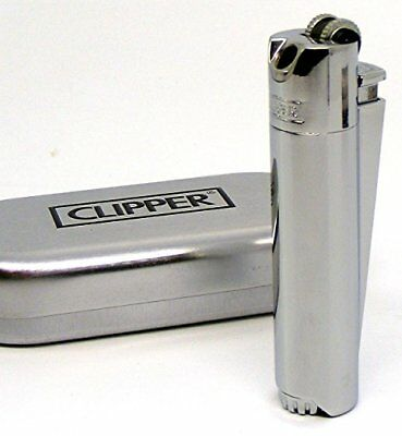 Chrome Clipper PIPE LIGHTER in metal gift box angled flame Refillable gas NEW