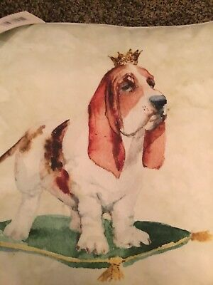 Basset Hound Queen On Pale Green Pillow. New Cute Valentine Gift!