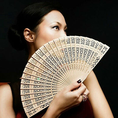 Vintage Chinese Folding Bamboo   Original Wooden Carved Hand Fan Wedding Party w