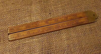BRASS MOUNTED HOCKLEY ABBEY BOXWOOD FOLDING WOODEN RULE MADE IN ENGLAND No. 1163