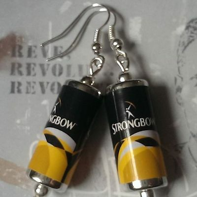 Unique STRONGBOW DARK FRUIT EARRINGS handcrafted DESIGNER drink CIDER CANS mini