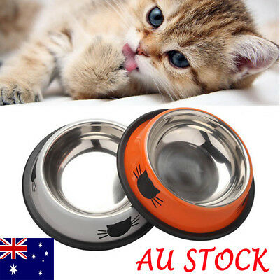 Non Slip Stainless Steel Cat Puppy Dog Pet Bowl Dish Water Food Feeding Bowl AU