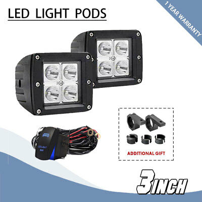 3inch 16W Square LED Spot Cube Work Light Pods Truck Offroad SUV Driving Lamps