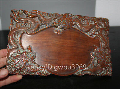 Collection Asian old China Huali Wood Brush Washers Hand-carved Dragon inkstone