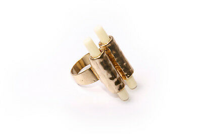 Ladies Antique Style Gresat Shiny Hammered Texture Ring with Two Tubes (T334)