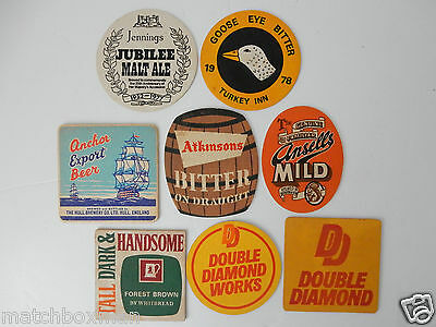 Job Lot Of Eight Interesting Beer Mats/coasters Sold As Seen Cbr8