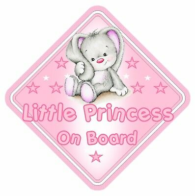 Rabbit Little Princess On Board Car Window Sign Non Personalised - Pink