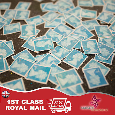 100 x 2nd Class Unfranked Stamps,No Gum ,Off Paper Stamps ,FV £57